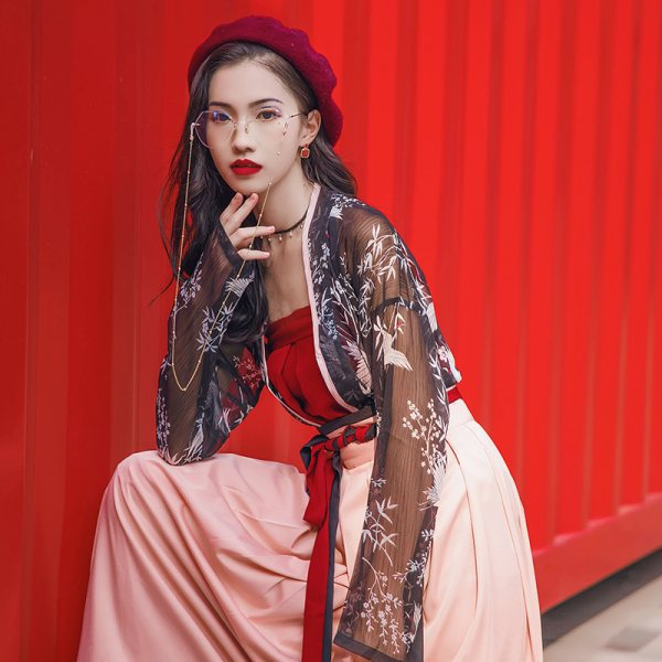 汉尚华莲日常时尚风传统汉服女装窄袖对襟襦裙齐腰春夏款仙鹤印花