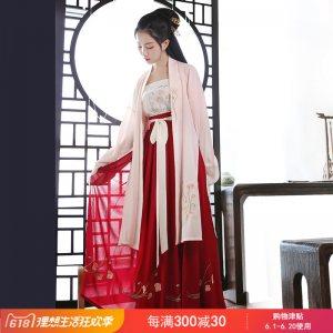 重回汉唐虞美人原创汉服女中国风长褙子吊带齐腰裙日常百搭春夏装