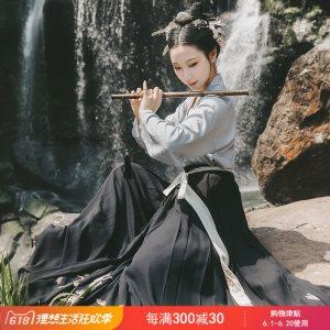 重回汉唐原创正品汉服女装蓬莱传统日常非古装中国风对襟襦裙夏季