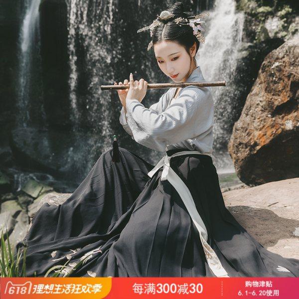 重回汉唐汉服女装蓬莱传统日常非古装民族风刺绣仙女对襟襦裙春秋