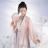 重回汉唐原创汉服夏装女暮雨日常非古装中国风短褙子抹胸宋裤套装