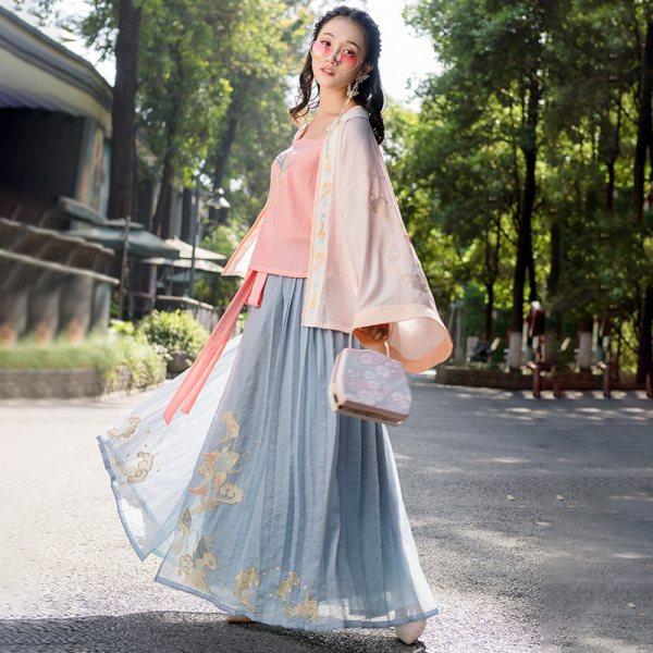 重回汉唐汉服夏装女青鸟飞鱼古日常中国风刺绣对襟衫襦百迭裙春秋