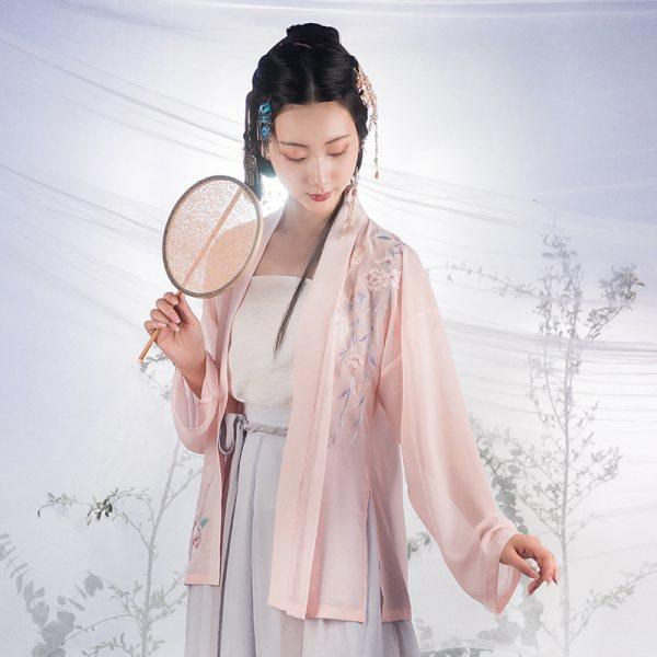 重回汉唐汉服秋装女暮雨日常非古装中国风刺绣雪纺短褙子抹胸宋裤