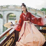 汉尚华莲一点春汉服女装原创交领襦裙齐腰仙鹤印花直袖渐变日常夏