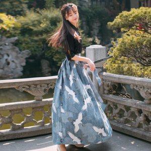 中国风江南素兮日常汉服女夏秋改良汉元素女装复古套装上衣+下裙