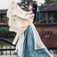 汉服广袖襦裙古装女中国风流仙裙杜若魏晋风学生日常改良古风秋装