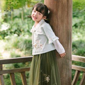 灵锦集汉服童装女 汉元素改良儿童女孩学生公主套装秋季新品馥泽