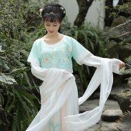 钟灵记素色批帛白色绿色飘带披帛女配齐胸襦裙齐腰坦领汉服配饰
