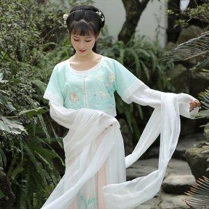 钟灵记【素色批帛】白色飘带披帛女配齐胸襦裙齐腰坦领汉服配饰