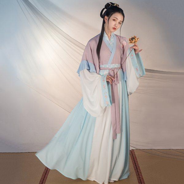 重回汉唐汉服女秋装瑶铃非古装中国风晋制半袖交领齐腰襦裙套装新