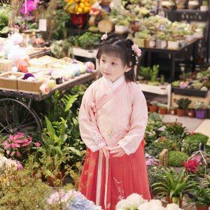 衔泥小筑传统汉服宝宝少儿女孩童装 方领比甲 交领袄裙套装星玥