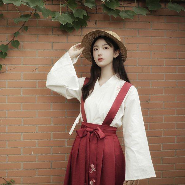 秋行:红落池夏原创设计汉元素中国风交领上衣背带裙长度可调节