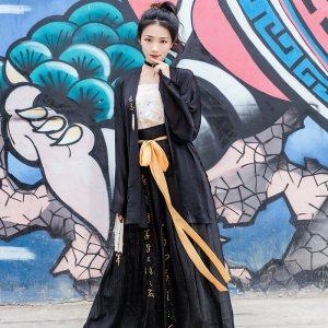 重回汉唐汉服女装书懿日常非古装中国风刺绣短褙子对襟齐腰襦裙秋