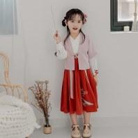 灵锦集汉服童装女 汉元素改良儿童女孩公主套装秋季新品 雀归
