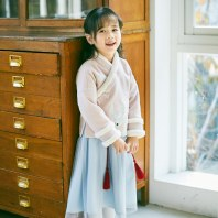 灵锦集女童汉服中国风复古 儿童套装冬季唐装刺绣外套连衣裙 蠃鱼