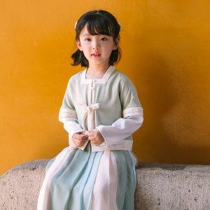 灵锦集汉服女童装 汉元素服儿童女孩公主套装时尚秋季新品 如梦令