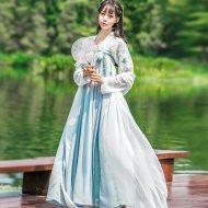 汉服齐胸襦裙套装广袖刺绣古装中国风女装大袖衫日常改良古风春装