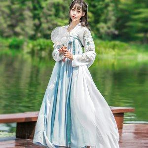 汉服齐胸襦裙中国风古装服装仙女装飘逸清新淡雅日常改良古风秋装