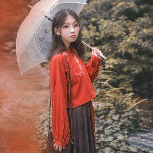 鹿韵记改良汉服女装立领斜襟褶裙套装枫叶刺绣汉元素秋冬日常