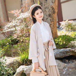 鹿韵记改良汉服女装日常长褙子外套条纹长裤套装汉元素秋冬