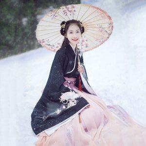 汉尚华莲传统汉服女装大袖交领襦裙双层齐腰襦裙秋冬款日常套装