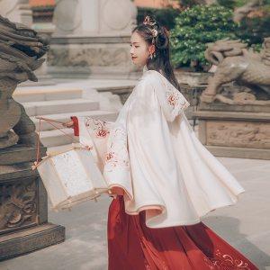 汉尚华莲传统汉服女装迷神引刺绣白色连帽斗篷短外套春秋季日常款