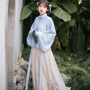 流烟昔泠 霜笙 袄裙 传统原创设计冬款绣花袄裙女装非古装