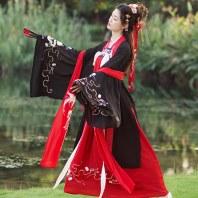汉服齐胸襦裙红色广袖古装中国风女装大袖衫学生日常改良古风秋装