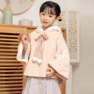 灵锦集女童汉服儿童中国风 复古儿童套装冬季唐装外套半裙 渡鹤影