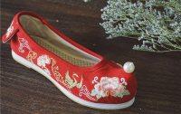 【朱砂痣】绣花平跟 圆头鞋 坡跟弓鞋  珍珠鞋 汉服配饰 现货