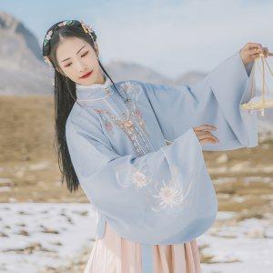 汉尚华莲洛玉传统汉服女装明制刺绣立领对襟袄裙日常秋冬款套装