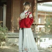 【十三余 小豆蔻儿】[海棠眠]绣花交领上袄一片式下裙袄裙汉服