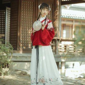 【十三余 小豆蔻儿】[海棠眠]绣花交领上袄一片式下裙袄裙汉服女