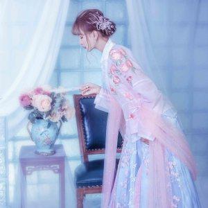 【落花情】汉服交领齐腰襦裙套装 下裙一片式片裙 汉元素  绛悠堂