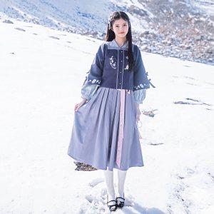 鹿韵记原创改良汉服女兰蝶赋方领半袖外套秋冬日常搭配汉元素
