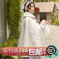 重回汉唐汉服女装配饰清馨中国风非古装绣花中长斗篷保暖秋冬装
