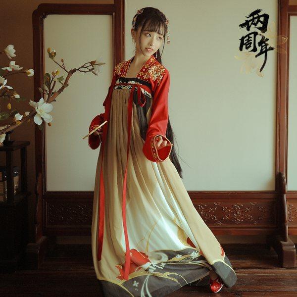 【十三余 小豆蔻儿】[水调歌头]齐胸对襟衫裙绣花两片式下裙汉服