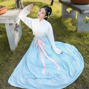 重回汉唐汉服女狸梦夏装中国风交领齐腰襦裙套装传统日常对襟半臂