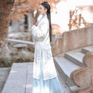 如梦霓裳免费抢红包最快的软件女交领齐腰襦裙玉梅令绣花对襟白长褙子清新淡雅夏季