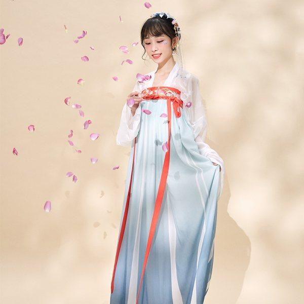 【十三余 小豆蔻儿】[陌上花]刺绣对襟齐胸齐腰衫裙汉服渐变绣花
