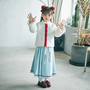 灵锦集 改良汉服 原创汉元素服 童装女  小红叶 毛呢外套 套装