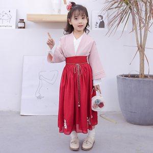 灵锦集汉服童装改良 日常汉元素古装 儿童女套装 春季新品 月兮