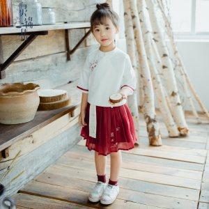 灵锦集汉服童装女 汉元素改良儿童女孩学生公主套装夏季新品 年年