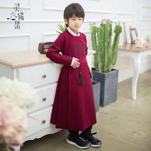 灵锦集汉服童装 男童女童改良古风儿童2018小学生春季套装 小亭风