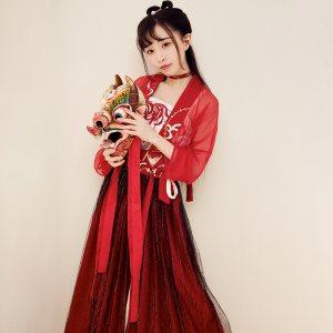 【十三余 小豆蔻儿】[彼岸花] 曼珠沙华对襟齐腰上衣拼接半裙汉服