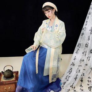 【十三余 小豆蔻儿】[泼茶香]双层刺绣长褙子宋抹一片式下裙汉服