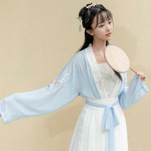 重回汉唐汉服春装女桃花溪日常非古装襦裙中国风刺绣短褙子齐腰裙