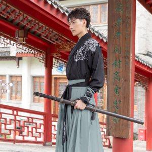 重回汉唐汉服男装凌恒日常中国风刺绣交领上衣下裳套装春秋非古装