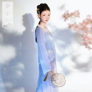 芥子记【清影】传统汉服女装刺绣对襟上襦宋裤日常搭配套装夏款