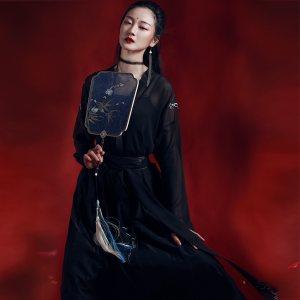 如梦霓裳汉服日常夏装女对襟齐腰襦裙[青云志]黑红中国风公主套装